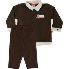Conjunto Infantil Masculino de Moleton Avião Marrom - Nini & Bambini :: 764 Kids | Roupa bebê e infantil