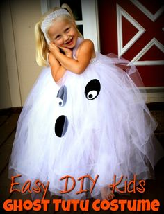 Super fun kids Ghost Costume!This Easy DIY Kids Ghost Tutu Costume is perfect for any little girl!