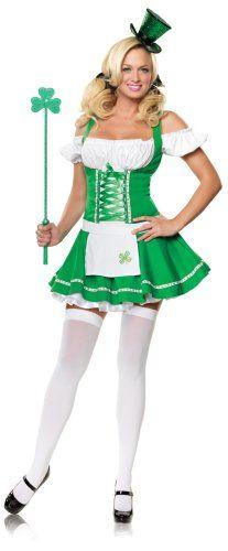 Leg Avenue Womens St #Patrick Dress,Green/White,Small/Medium