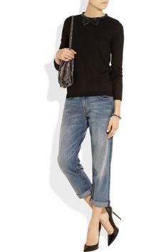 Maje Pamplune leather-trimmed wool sweater NET-A-PORTER.COM