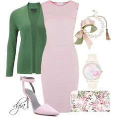 White -pink -green for Spring, created by dgia on Polyvore
