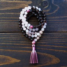 108 Mala Beads Smoky Quartz Rose Quartz Mala by MishkaSamuel