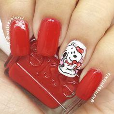 valentine by nailsbyalexiz Get Nails, Love Nails, Pretty Nails, Hair And Nails, Fancy Nail Art, Trendy Nail Art, Fancy Nails, Snoopy Nails, Valentine Nail Art