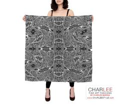 Charlee Time Lapse Silk Scarf in BW Square 36x36