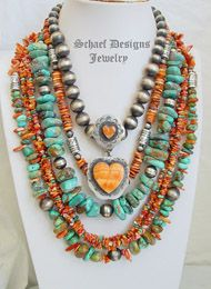 Schaef Designs spiny oyster & turquoise sterling silver necklace pairing, New Mexico. Ethnic Jewelry, Boho Jewelry, Jewelry Art, Beaded Jewelry, Jewelery, Silver Jewelry, Handmade Jewelry, Jewelry Design, Silver Ring