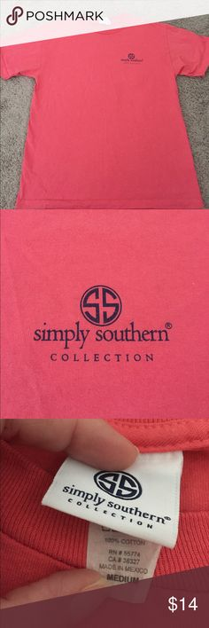 Simply Southern shirt. Coral Tahoe with mermaid back. Worn three times. Simply Southern Tops Tees - Short Sleeve