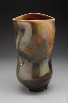 Chris Gustin |  Vessel with Crease #0903.   Anagama wood-fired stoneware 2009