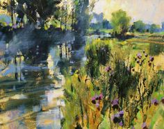 River and Summer Mist by British Contemporary Artist Chris FORSEY