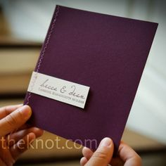 Purple Ceremony Programs, love the stitching down the left side.