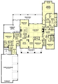 European Style House Plan - 4 Beds 4.5 Baths 3360 Sq/Ft Plan #430-126 Floor Plan - Main Floor Plan - Houseplans.com