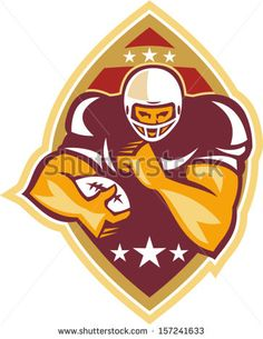 Illustration of an american football gridiron running back player running with ball facing front done in retro style set inside ball . #Americanfootball #retro #illustration