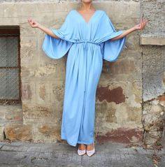 Blue Maxi dress Caftan  Abaya  Plus size by cherryblossomsdress