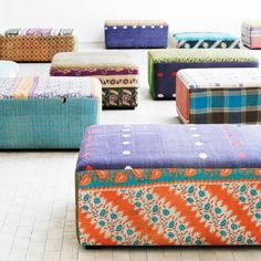 $893 Antique Quilts Mags Ottoman - Sofas + Pouffes + Lounge Seating - Living