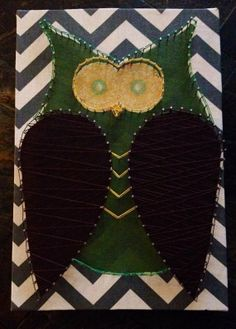 Green String Art Owl on Chevron background by NailedItDesign, $40.00