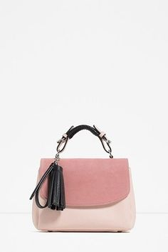Colourblock Mini Shopper Bag from Zara White Leather Handbags, Pink Leather, Leather Purses, Cow Leather, Real Leather, Satchel Purse, Leather Satchel, Crossbody Bag, Ss16
