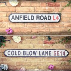 Christmas Gifts Presents For Football Fans ⚽ The Best Replica Football Street Road Signs & Stadium ⚽ Anfield Liverpool Fc, Manchester United Old Trafford Football Signs, Retro Football, Brighton & Hove Albion, Brighton And Hove, Manchester United Old Trafford, Carrow Road, Anfield Liverpool, Wedding Gifts For Men