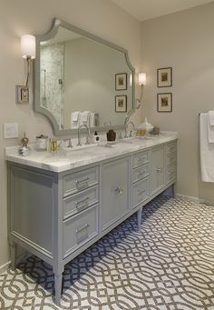 Furniture-style gray vanity & gray trellis tile floor in a bathroom Bad Inspiration, Decoration Inspiration, Bathroom Inspiration, Bathroom Renos, Bathroom Flooring, Master Bathroom, Bathroom Ideas, Vanity Bathroom, Bathroom Cabinets