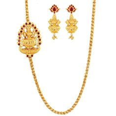 SthriElite Fashionable Gold Plated Ruby Stone Mope Chain MOP-CHN-008-100
