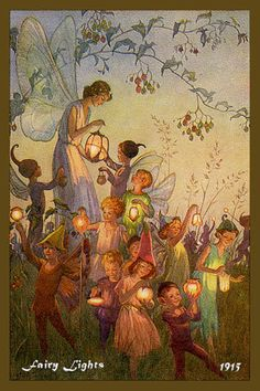 """Fairy Lights"" by Margaret Tarrant (1888-1959). Margaret was born in Battersea, a suburb of south London. She studied at the Clapman School of Art and later at the Guildford School of Art. She was an established illustrator and a close friend of Cicely Mary Baker. The two women influenced each others work and shared many of the same interests. Margaret, like Cicely, was known for her wonderful fairy images."