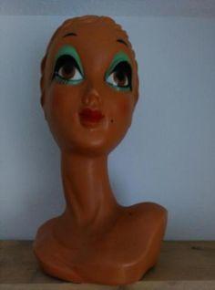 Oud Vintage Etalagehoofd Twiggy Buste Hoofd Stijlicoon Groen