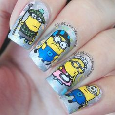 Super cute minions nail art using  Stamping plate : OS 01 from Ebay