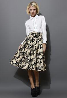 Retro Floral Print Midi Skirt - New Arrivals - Retro, Indie and Unique Fashion