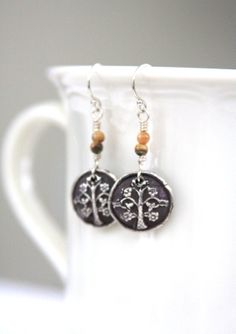 Earrings fine silver PMC metal clay Tree of by HollyMackDesigns, $42.00