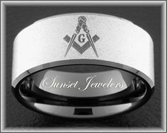 Freemason Black Tungsten Ring with Masonic Square & Compass.  Free Inside Engraving! Sizes: 5, 5.5, 6, 6.5, 7, 7.5, 8, 8.5, 9, 9.5, 10, 10.5, 11, 11.5, 12, 12.5, 13, 13.5, 14, 14.5, 15  Sunsetjewelers.com