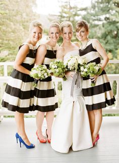Cute bold striped bridesmaids dresses with different and colorful shoes!