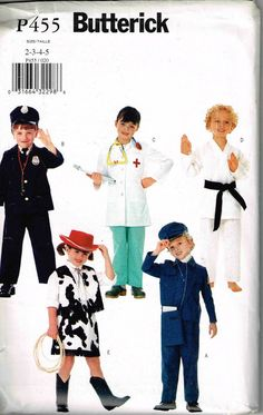 child doctor police man karate cowgirl train conductor butterick p455 6755 sewing pattern halloween costume by