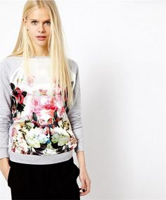 Casual Floral Printed Patchwork Hoodies Sweatshirt 2017 Spring Autumn Long Sleeve Tracksuit Pullovers Tunic Tops Sudadera Mujer