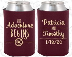 The Adventure Begins, Wedding Items, Compass, Destination Wedding Favors, Destination Favors, Beer Koozies (289)