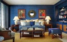 blue-living-room-with-textured-walls