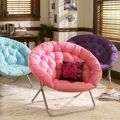 """$99 Hang-A-Round Chair w/ puffy cushioning on all sides 37"""" wide 30"""" deep 31.5"""" high. Easily folds for storage and crafted with a steel base.  Made of polyester."""