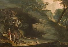 Cadmus and the Dragon - John Martin als Kunstdruck oder handgemaltes Gemälde. English Romantic, John Martin, Sword And Sorcery, Traditional Paintings, Poster, Dragon, Fantasy, Prints, Image