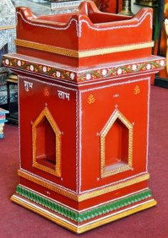 Amazon.com: Tulsi Pot Kyaro Basil Planter Hindu Puja Rituals Aarti ... Tulasi Plant, Pooja Room Door Design, Flower Pot Design, Kerala House Design, Puja Room, House Plants Decor, House Front Design, Indian Home Decor, Painted Pots