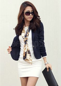 Hot Women Blazer Lady OL One Button Suit Coat Long Sleeve Jacket Outerwear Top - $8.00