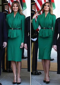 Melania Trump - First Lady meets Queen Rania, but who takes the award for best dressed? Donald And Melania Trump, First Lady Melania Trump, Melania Trump Dress, Donald Trump, Melanie Trump, Milania Trump Style, Estilo Kate Middleton, Look Star, First Ladies