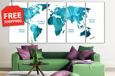 """Multi panel world map. Canvas painting """"World map planes """" 1-2-3-4-5 panel swt world map. Stretched detailed wold map for home decor by CanvasPrintingShop, $44.10 USD"""
