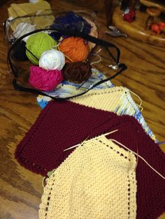 Awesome knitted garter stitch washcloths- these make great little Christmas gifts -or just an anytime treat for someone!!