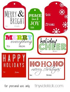 Printable Christmas Gift Tags {to: you from:TinySidekick} #printable #christmas #christmaspacakaging