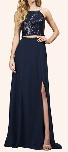 Two Piece Sequin Chiffon Long Bridesmaid Dress Simple Prom Gown #dress #gown #prom #prom2017 #formaldress #formalgown #eveningdress #macloth #eveninggown #wedding