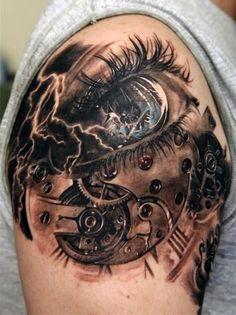Arm Eye Lightning Tattoo For Men