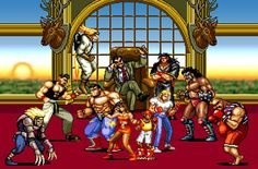 Poster of Axel Stone, Blaze Fielding, Skate Hunter, and Max Thunder about to face Mr. X and his goons in Streets of Rage 2.