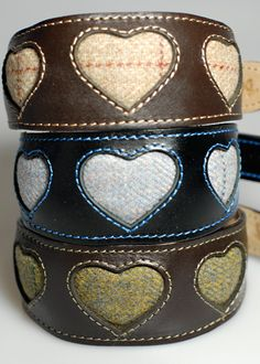 Leather  Tweed Heart Dog Collar collection