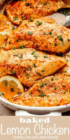 Baked Lemon Chicken - This simple chicken dinner has a homemade garlic lemon marinade and a 3-ingredient spice rub. It uses flavorful spices and fresh lemons to keep it delicious, yet healthy! #chickenbreasts #bakedchicken #keto #lowcarb Easy Family Dinners, Family Meals, Easy Meals, Family Recipes, Baked Chicken Recipes, Beef Recipes, Turkey Recipes, Cooking Recipes, Vegan Kitchen