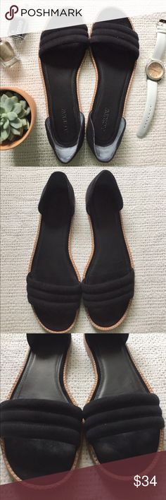 J.Crew | Sandal Flats Just in time for spring & summer! Black suede flats from J. Crew. Size 8.5. Worn only once and only sign of use on the bottom soles. 📬Fast Shipping📬 🥂10% off 2+ items🥂 J. Crew Shoes Sandals