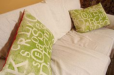 Painted Fabric Throw Pillows