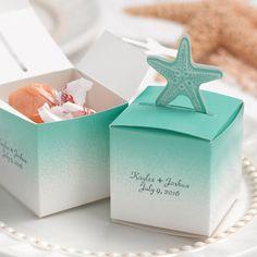 Aqua Seafoam Blue Summer Beach Starfish Wedding Favor Mint Candy Box Containers