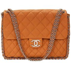 Preowned 2012 Chanel Honey Beige Quilted Calfskin Chain Around Maxi... ($4,066) ❤ liked on Polyvore featuring bags, handbags, brown, structured shoulder bags, orange handbags, beige purse, quilted chain purse, chanel purse and brown handbags